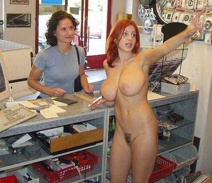 Hot naked blonde office girl
