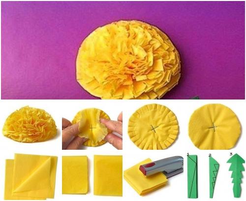 Как сделать одуванчики из салфетки