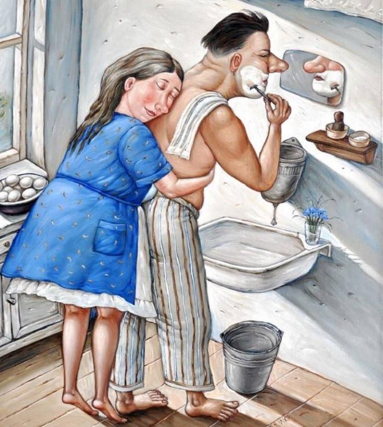 Прикольные рисунки муж жена, атс это смешные