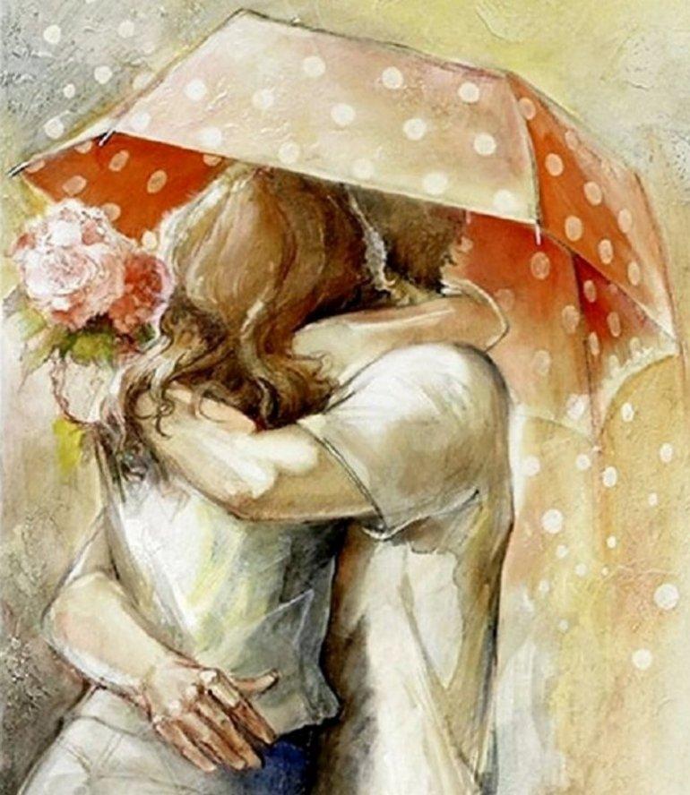 Открытки с целующимися людьми, тушью