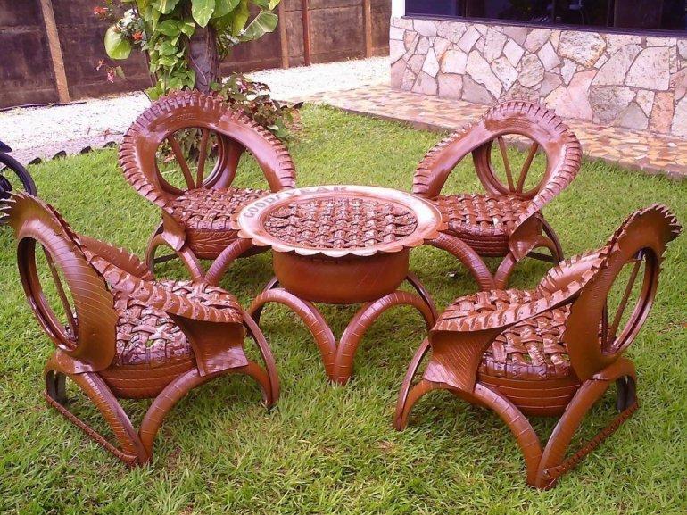 Садовая мебель из старых шин